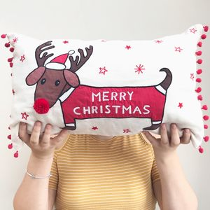 Christmas Dachshund Cushion - christmas home accessories