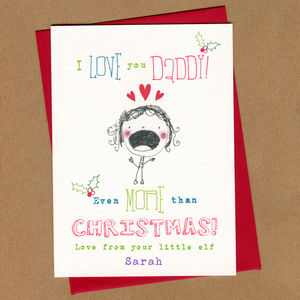 Personalised Daddy Colouring In Christmas Card
