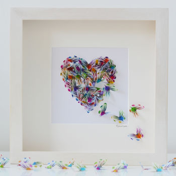 Personalised Framed 3D Butterfly Heart, Love Heart