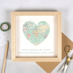 You Are My World Map Heart Mother's Day Framed Print - new in prints & art