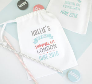 Personalised Hen Night Survival Favour Bag - wedding favours
