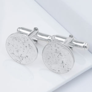 Sterling Silver Round Memorial Cufflinks - best gifts for him