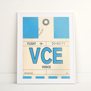 Personalised Venice Vintage Luggage Tag Print