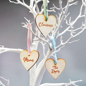 Personalised Name Wooden Heart Decoration Favour - view all new