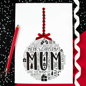 Mum Personalised Christmas Bauble Card