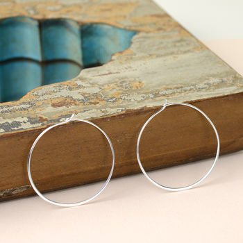 Contemporary Sterling Silver Hoop Earrings
