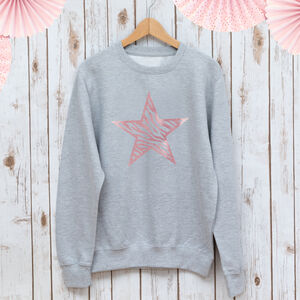 Zebra Star Ladies Sweatshirt In Rose Gold