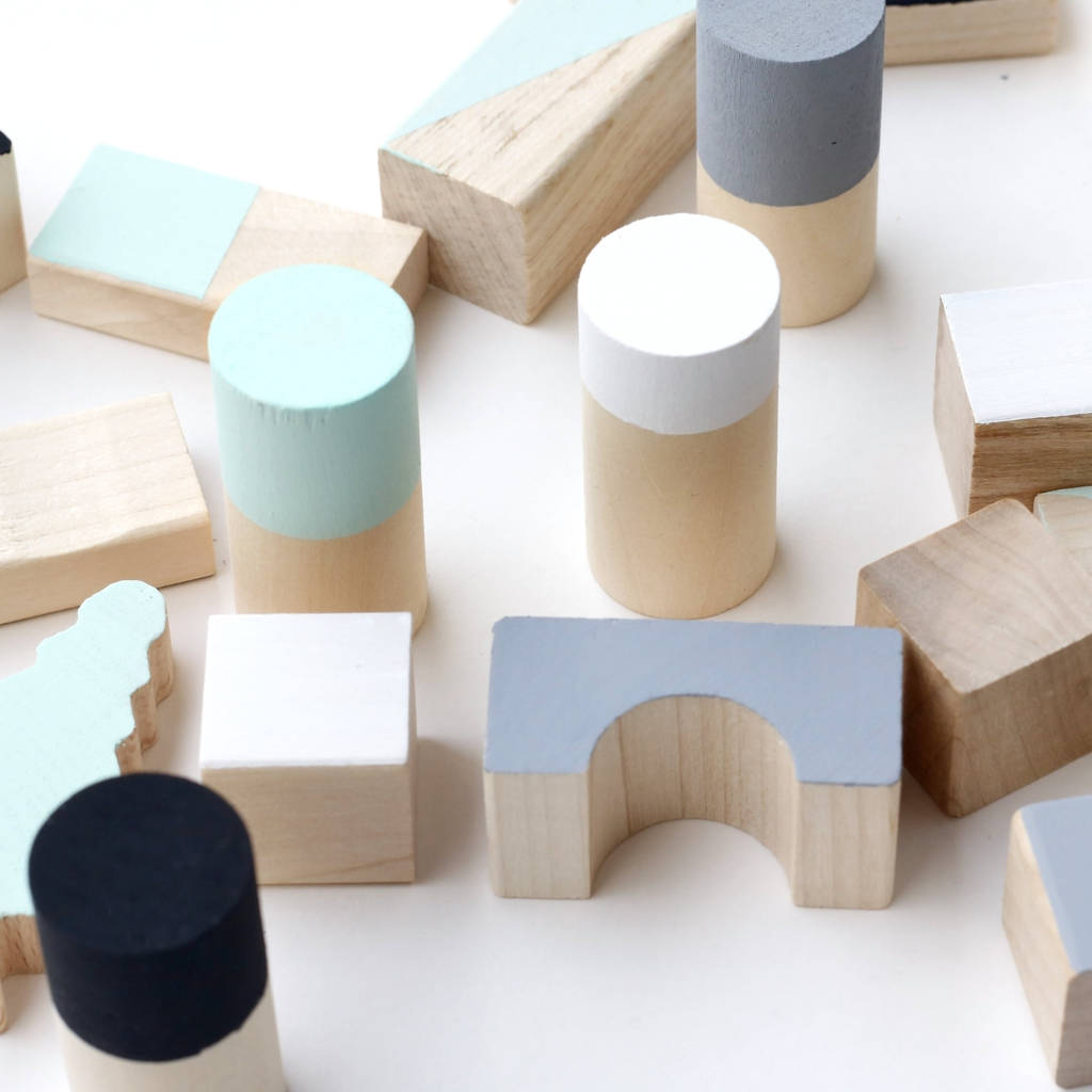 Mint And Monochrome Wooden Blocks By Happy Little Folks