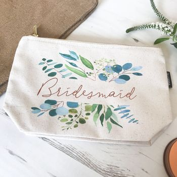 Floral Eucalyptus Wedding Bridesmaid Pouch