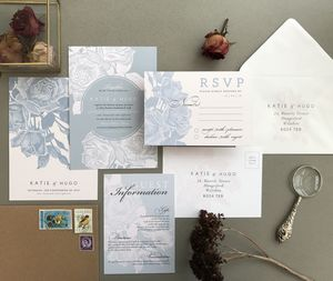 Grey And Blush Etched Rose Wedding Invitation Set - new in wedding styling