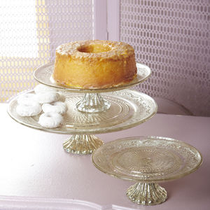 Antiqued Silver And Glass Cake Stand - kitchen accessories
