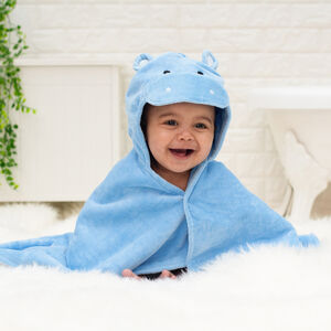 Personalised Happy Hippo Baby Towel