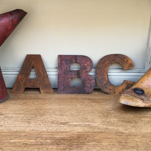 Reclaimed Five Inch Rusty Metal Letters Symbols Signs