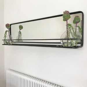 Black Metal Landscape Carriage Mirror - mirrors