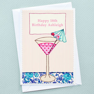 'Cocktail' Personalised Girls Birthday Card
