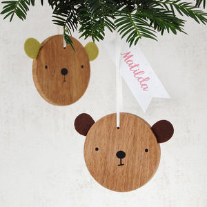 Personalised Bear Christmas Decoration - tree decorations