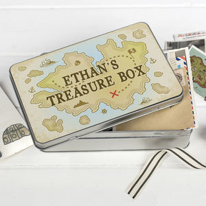 Children's Personalised 'Treasure Box' Storage Tin - new in home