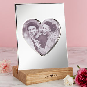 Silver Heart Frame With Personalised Oak Stand - picture frames