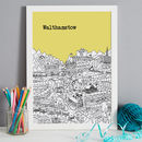 Walthamstow in yellow, A3 size framed