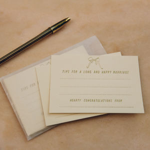 'Tips For A Long And Happy Marriage' Advice Cards