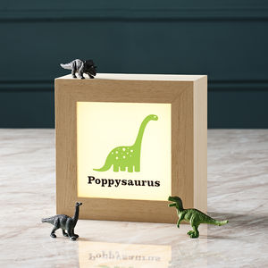 Personalised Solid Wood Dinosaur Lightbox - children's room