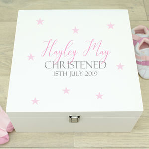 Large Stars White Wooden Christening Memory Box