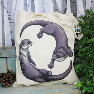 Otters Illustration Fair Trade Tote Bag