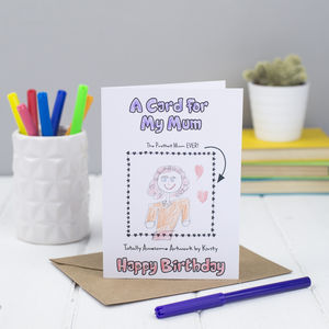 Personalised Colouring In Happy Birthday Mum Card - birthday cards