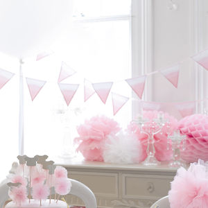Pink Fabric Bunting - outdoor decorations