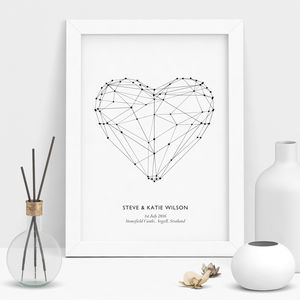 Polygon Love Heart Print Personalised Wedding Gift - posters & prints