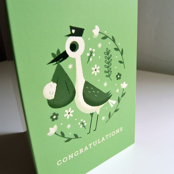 'Congratulations' Stork Gender Neutral New Baby Card