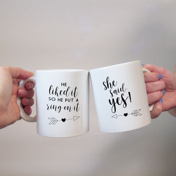 Couples Engagement Mug Set
