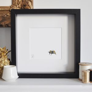 Framed Bee Print With Glitter