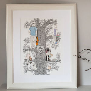 Personalised Illustrated Family Tree Portrait - drawings & illustrations