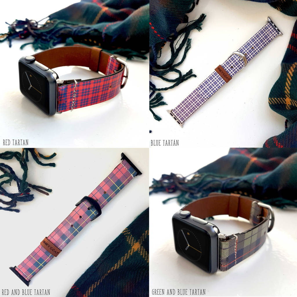 Tartan Leather Apple Watch Band 38mm, 42mm