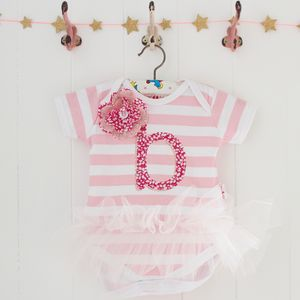 Personalised Letter Baby Stripe Tutu Bodysuit - new baby gifts