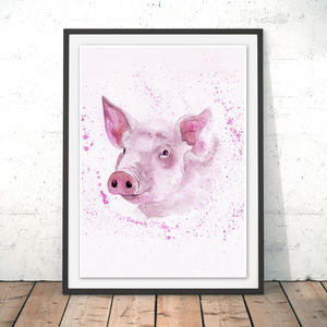 Splatter Pig Watercolour Fine Art Giclée Print - animals & wildlife