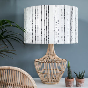 Bamboo Woven Rattan Table Lamp With Linen Shade