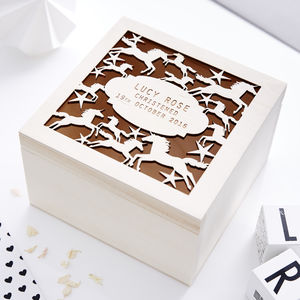 Unicorn Personalised Christening Keepsake Box - storage & organisers