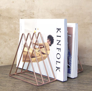 Copper Triangle Minimal Magazine Rack