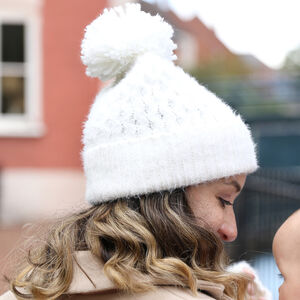 Soft Knit Bobble Hat In White