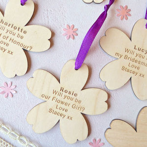 Will You Be My Bridesmaid? Wooden Flower - be my bridesmaid?