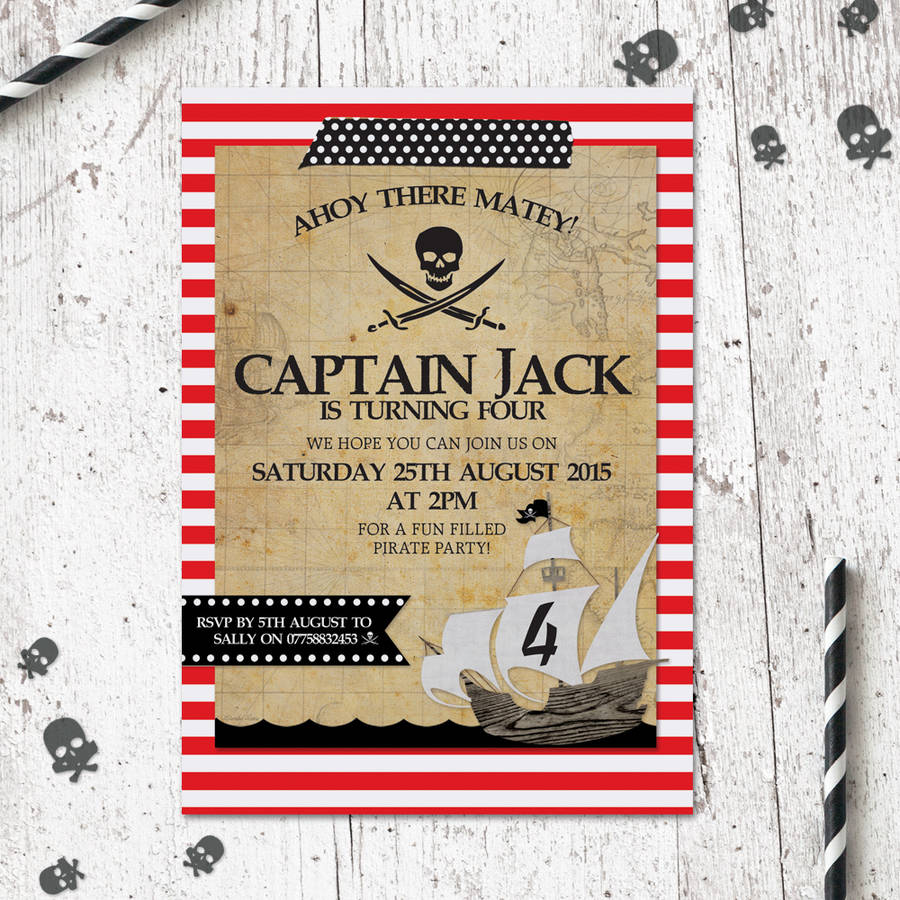 20 pack of children s birthday pirate party invitations by heart