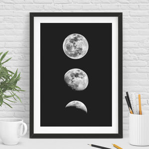 Three Phase Full Moon Print In Black And White