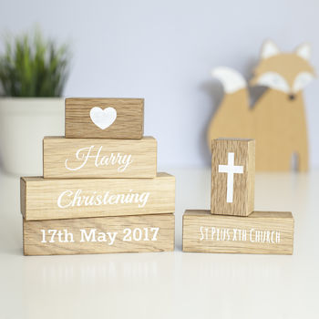 Personalised Christening Oak Building Blocks