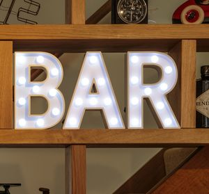 White Wooden LED Light Up Bar Sign - wall lights