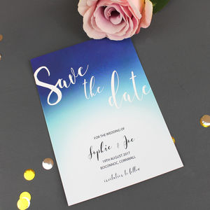 Ombre Modern Save The Date Card - table plans