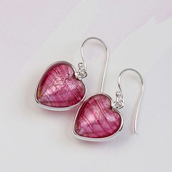 Heart Earrings In Silver And Murano Glass - Raspberry Pink