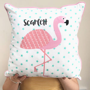 Personalised Pink Flamingo Cushion - baby's room