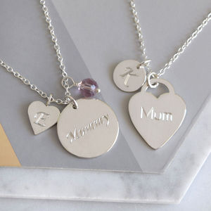 Personalised Sterling Silver Mum Necklace